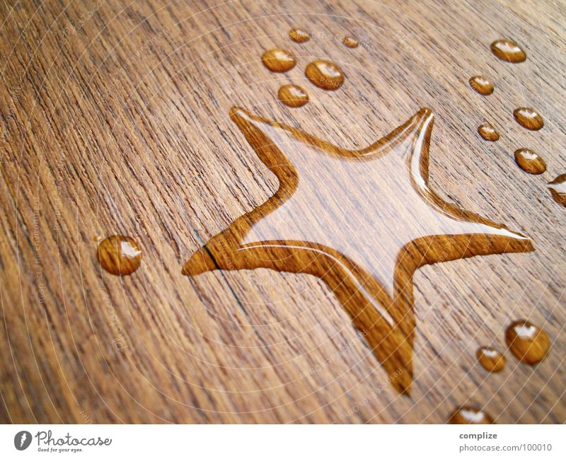 Christmas & Advent Beautiful Water Wood Happy Design Creativity Table Drops of water Wet Star (Symbol) Sign Universe Belief Patch Holy