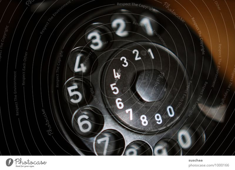 1 2 3 4 5 6 7 ... Plastic Digits and numbers Dark Retro Black Telephone Rotary dial Old Round bakelite Colour photo Subdued colour Interior shot Close-up