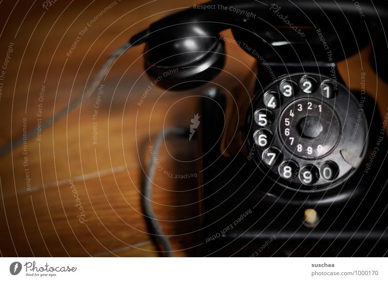 Will somebody call me? Telephone Telecommunications Digits and numbers Retro Black Receiver Rotary dial Telephone cable bakelite phone Old Old fashioned