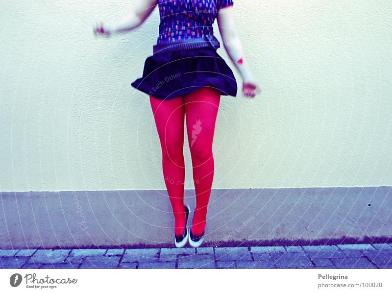 Woman Red Jump Air Legs Footwear Arm Flying Stockings Hop