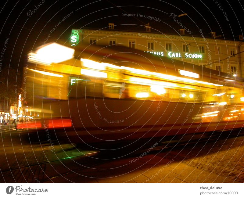 streetcar Dark Night Light Movement In transit Driving Transport Street Railroad Lamp