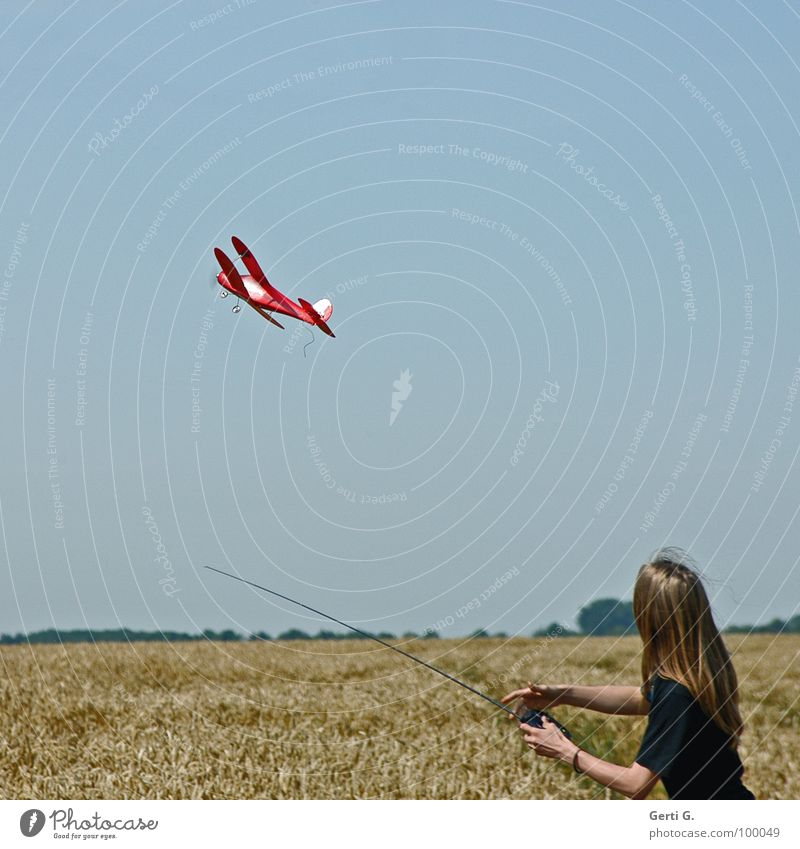 departure Model aeroplane Cornfield Red Remote control Antenna Playing Aircraft Upper body Wheat Cute Wheatfield Grass Depart Go up Long-haired Young man