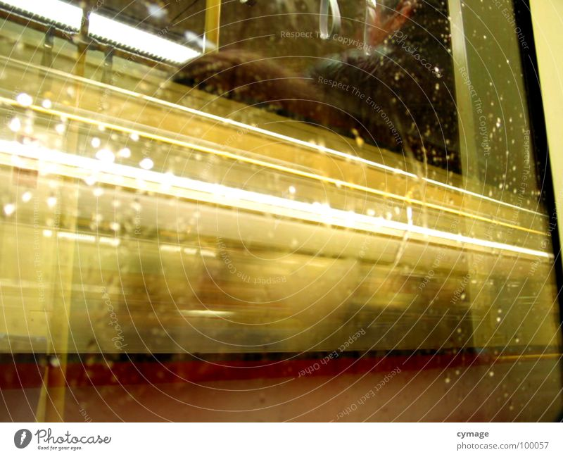 draught of light Light Stripe Train compartment Window Reflection Speed Yellow Action Strip of light Long exposure pass Railroad Blur