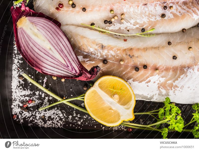 Red onion and lemon on zander fish Food Fish Fruit Herbs and spices Cooking oil Lunch Dinner Organic produce Vegetarian diet Diet Style Design Healthy Eating