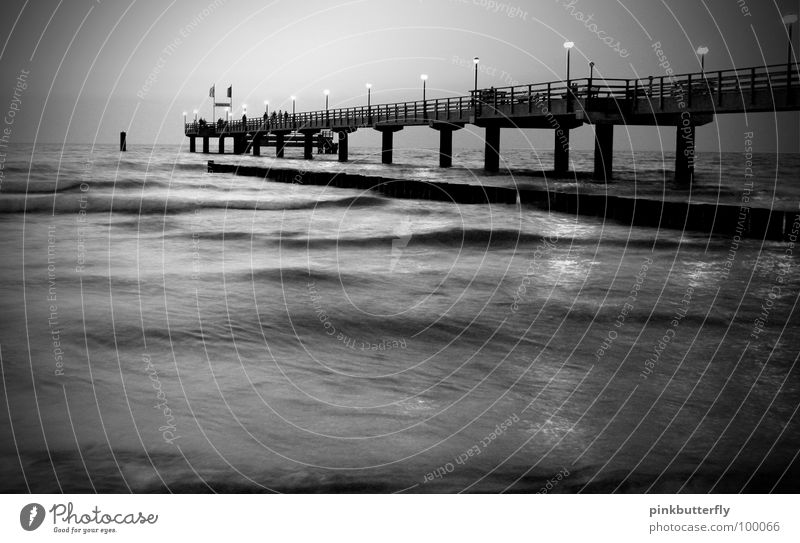 On a dark night.... Horizon Ocean Pond Lake Body of water Waves Wet Footbridge Jetty Environmental protection Infinity Column Worm's-eye view Under Coast Pink