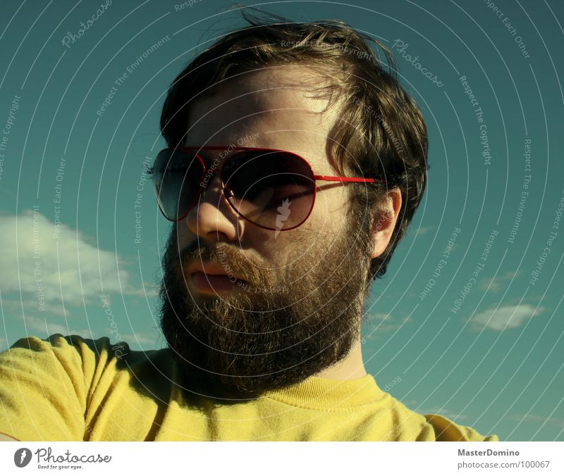 Exaggeratedly euphoric Man Facial hair Beard Sunglasses Clouds Green Yellow Portrait photograph Self portrait Porno glasses Easygoing Gloomy Boredom Converse