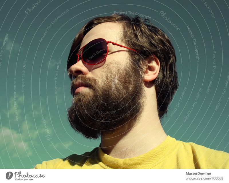 skyrocketing Man Facial hair Beard Sunglasses Clouds Green Yellow Portrait photograph Self portrait Porno glasses Easygoing Gloomy Boredom Converse Summer
