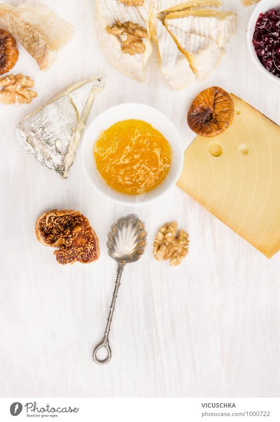 Cheese sorts with fig mustard sauce and spoon Food Fruit Dessert Jam Nutrition Banquet Crockery Bowl Spoon Style Design Soft Sauce Background picture Parmesan