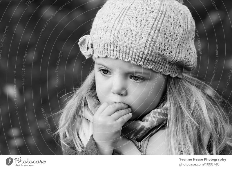 Human being Child Nature White Hand Girl Black Face Eyes Autumn Feminine Hair and hairstyles Garden Fashion Dream Blonde