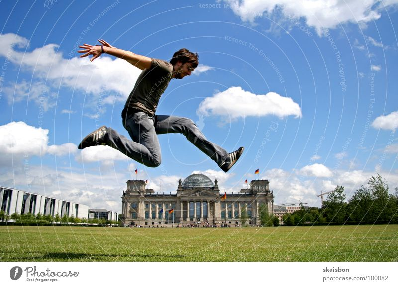 weekend terrorist Joy Body Playing Trip Summer Beautiful weather Meadow Capital city Tourist Attraction Landmark Monument Reichstag Flying Jump Exceptional