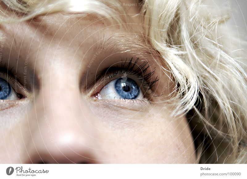 Where are you? Longing Loneliness Blonde Grief Motionless Distress Woman Doubt Eyes Blue Sadness