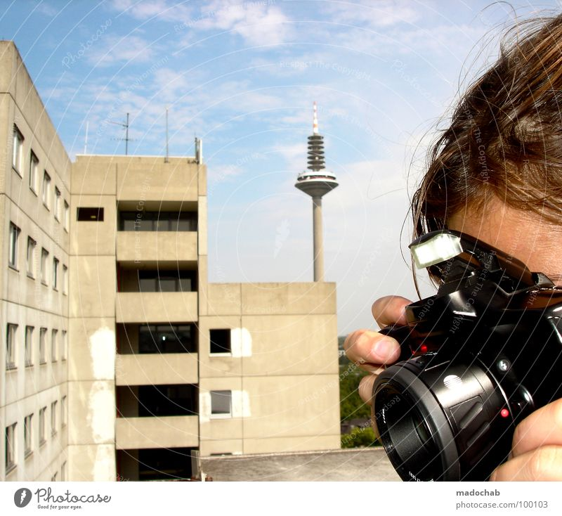 SIGHTSEEING Woman Human being Photographer Take a photo Frankfurt Student accommodation Block Building Gray Gloomy Clouds Sky Summer Balcony Window Facade