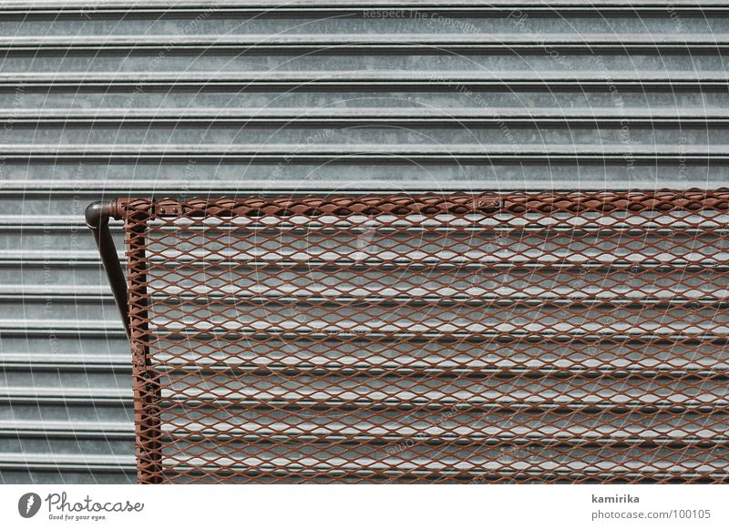 Dark Cold Metal Brown Door Level Illustration Gate Steel Handrail Iron Grating Garage Venetian blinds Shift work Roller blind