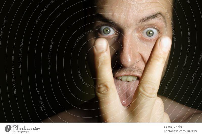 Man Hand Joy Face Eyes Funny Fingers Crazy Whimsical Evil Freak Tongue Lick