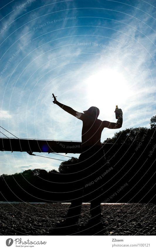 poser Posture Man Masculine Silhouette Isar Bavaria Gravel Drinking Baseball cap Back-light visualization Musculature Shadow Bridge River Stone Smoking