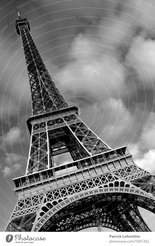 eiffel tower paris Architecture Sky Clouds Beautiful weather Paris France Europe Capital city Downtown Deserted Manmade structures Tourist Attraction Landmark