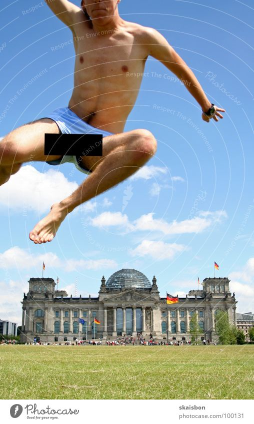 Human being Green Summer Joy Meadow Playing Berlin Warmth Jump Art Germany Body Flying Tall Large Exceptional