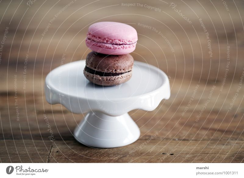 sweet duo Food Dessert Candy Chocolate Nutrition Eating Moody Food photograph Plate macarons Delicious Calorie Wooden table 2 Colour photo Interior shot