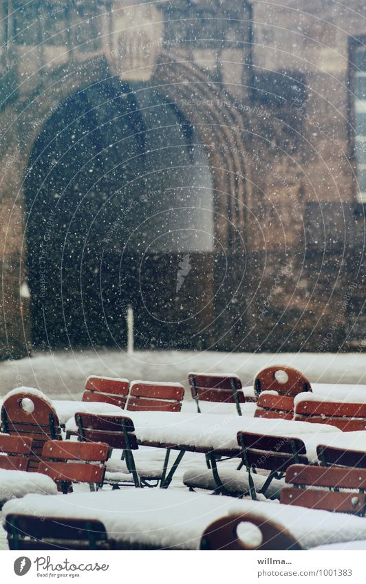stool sample, flaky Beer garden Gastronomy Winter Snow Snowfall Town Snowflake Chair Archway Deserted Cold Exterior shot
