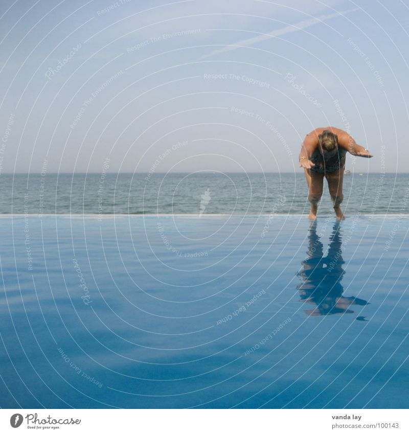 Woman Human being Water Old Sky Ocean Summer Joy Beach Vacation & Travel Sports Jump Air Coast Wet Horizon