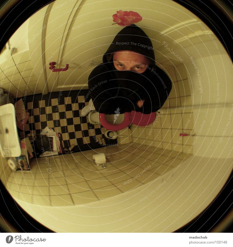 OCCUPIED. Fisheye Camouflage Black Dark Man Human being Dangerous Terror Rogue Sink Bathroom Pattern Small Narrow Face Mask Wrap up warm Eyes Threat Fear Toilet