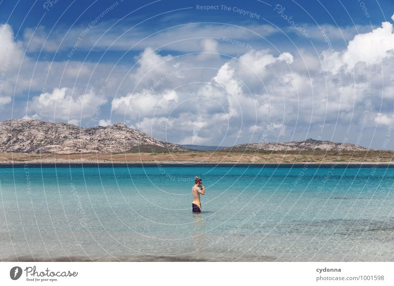 Human being Nature Vacation & Travel Youth (Young adults) Summer Water Ocean Landscape Young man Clouds Far-off places Beach Mountain Coast Freedom