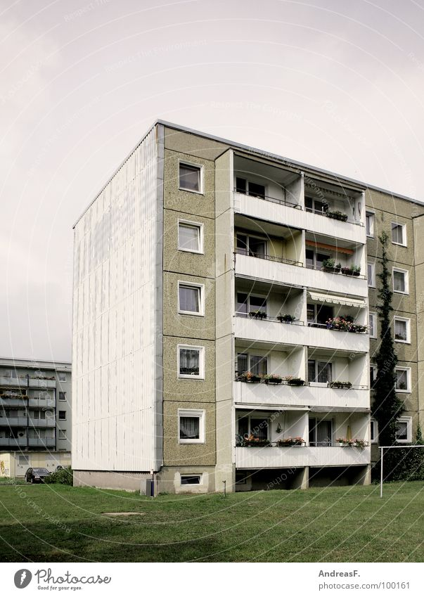 Living in the countryside Prefab construction House (Residential Structure) Block Tower block Cottbus East Flat (apartment) Balcony Ghetto Social Socialism