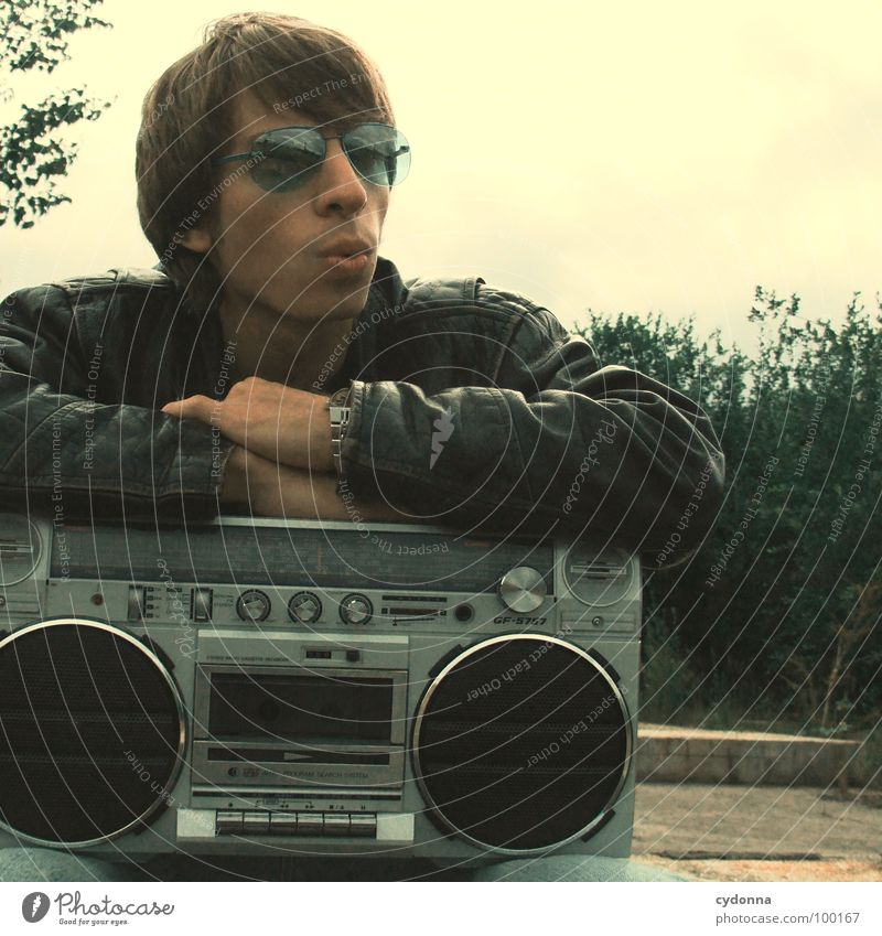 RADIO ACTIVE I Man Fellow Style Music Sunglasses Industrial site Leather jacket Concrete Emotions Human being Guy boy Cool (slang) porn Radio (broadcasting)