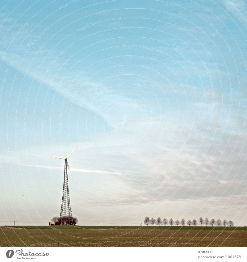 wind Energy industry Renewable energy Wind energy plant Landscape Air Sky Climate Tree Field Freedom Environment Environmental protection Far-off places