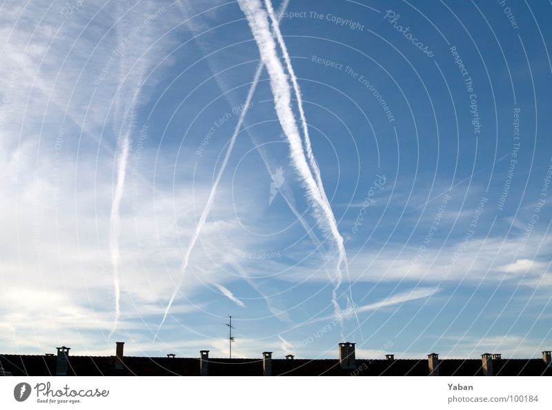 TicTacToe in the sky Clouds Vapor trail Roof Antenna Open Wanderlust Transience Wide angle Sky Aviation Beautiful weather partly cloudy Chimney Honest Many