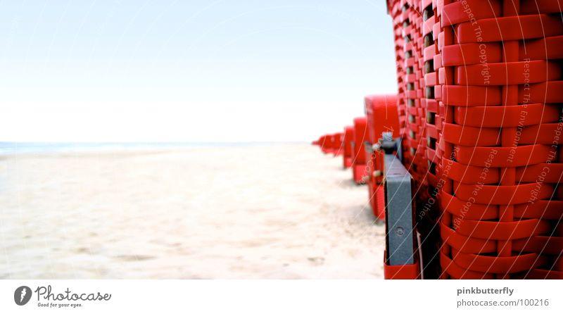 Beach spying... Ocean Beach chair Waves Red Brown Vacation & Travel Rügen Wellness Stripe Basket Twilight Emotions Swell Coast Surprise Summer Relaxation Sand