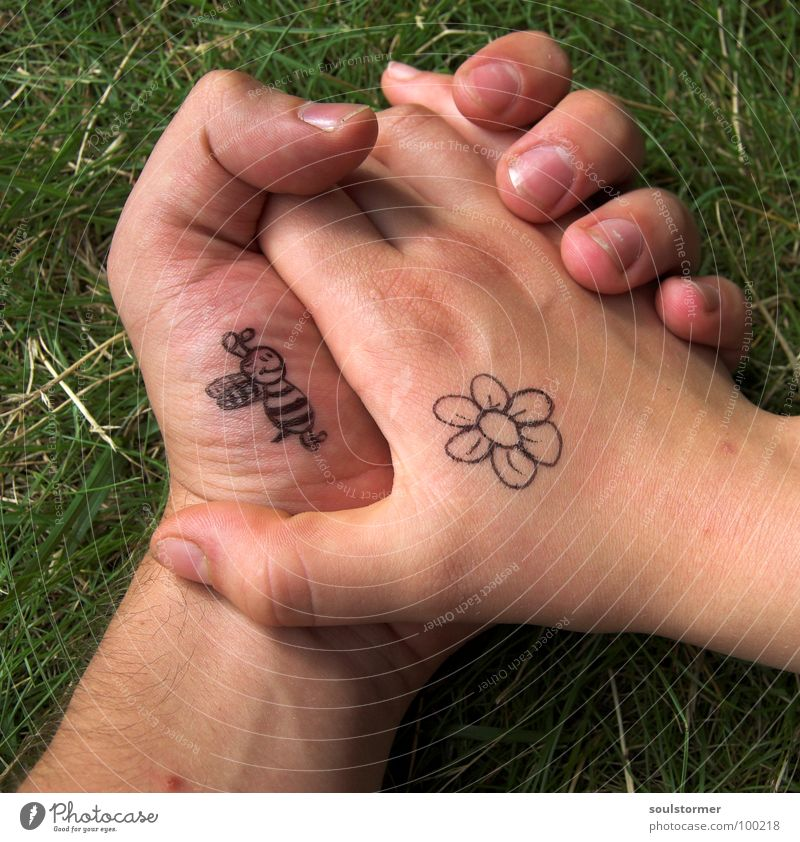 Bees and flowers pt3 Blossom Hand Fingers Thumb Hold hands Going Love Touch Spring fever Passion Flower Grass Foliage plant Meadow Comic Sign language
