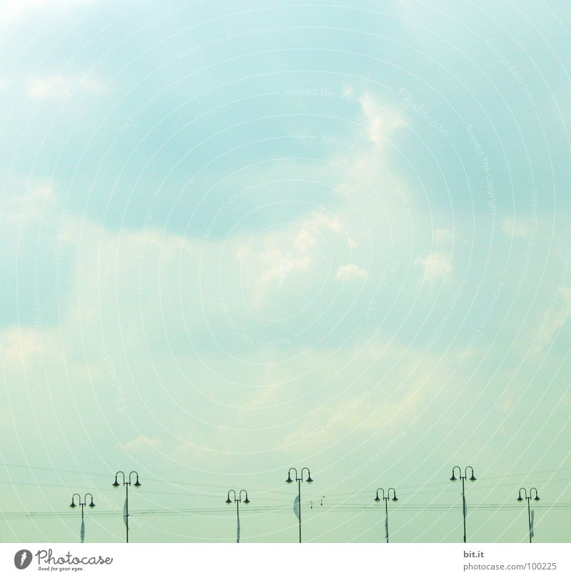 Sky White Green Blue Vacation & Travel Clouds Line Bridge Energy industry Electricity Technology Cable Stand Lantern Turquoise Street lighting