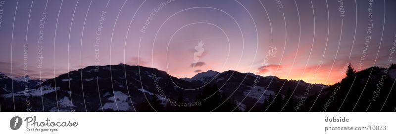 mountain panorama Sunset Winter Twilight Mountain Sky