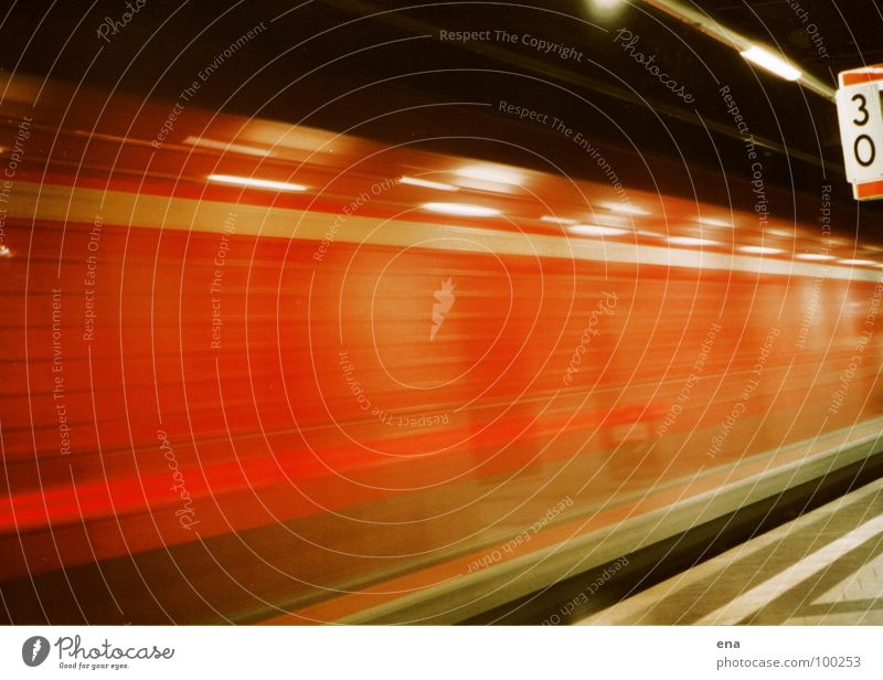draft Commuter trains Railroad Tunnel Reddish black Glittering Stripe Light Reflection Platform Passage Speed Back draft Exciting Hose Blur Train station