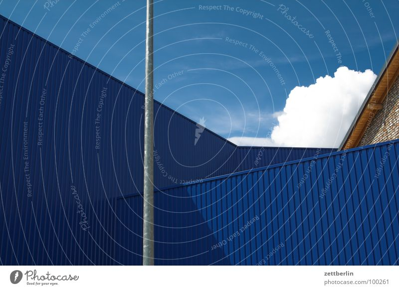 cloud Clouds Summer Wall (building) House (Residential Structure) Corner Corrugated sheet iron Flagpole Shadow Detail Sky angled Building Storage warehouse