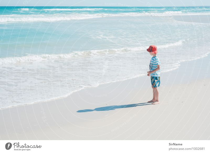 Child Nature Vacation & Travel Beautiful Water Summer Ocean Landscape Beach Far-off places Warmth Life Boy (child) Freedom Sand Horizon