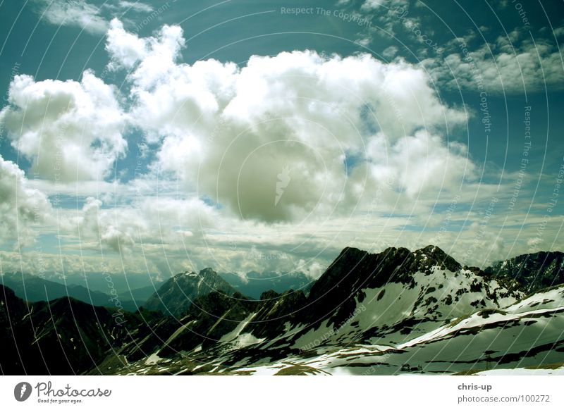 Sky Nature Blue Sun Relaxation Clouds Mountain Snow Germany Horizon Air Hiking Vantage point Large Level Alps