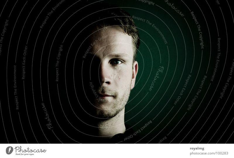 Human being Man Face Black Eyes Dark Masculine Portrait photograph Modern Concentrate Shadow Half