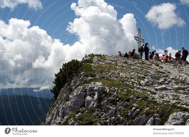 Human being Sky Blue Clouds Calm Nutrition Autumn Mountain Gray Grass Stone Rock Wait Hiking Large Break
