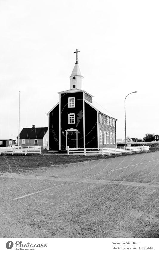 Kirkja Fishing village Small Town Historic Loneliness Deserted Church Iceland Church spire Street Lantern Real estate Asphalt Black & white photo Exterior shot