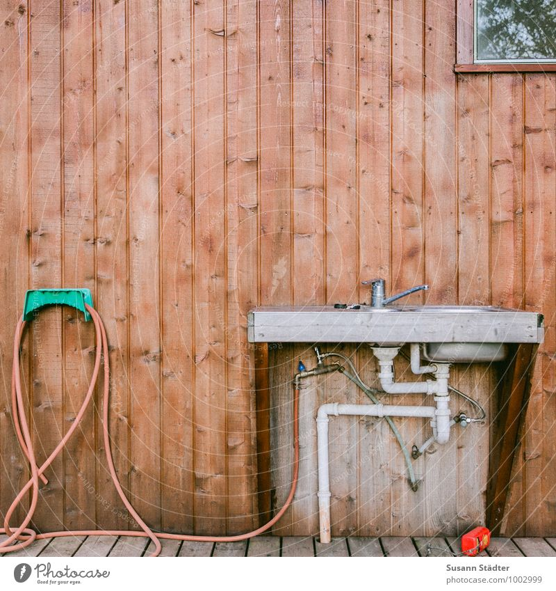 fresh water Camping Clean Water hose outdoor kitchen Sink Wooden wall Drainage Drainpipe syphon mixer tap hose suspension Vanity Window back wall Colour photo