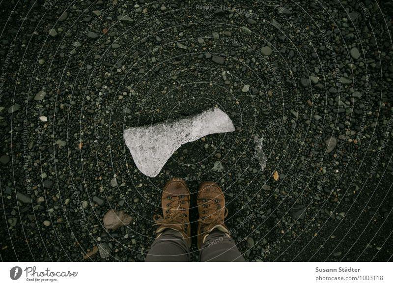 glacier tongue Legs Feet Winter Ice Frost Drought Broken Glacier Glacier ice Glacial melt Hiking boots Pebble Iceland Jökulsárlón Colour photo Subdued colour
