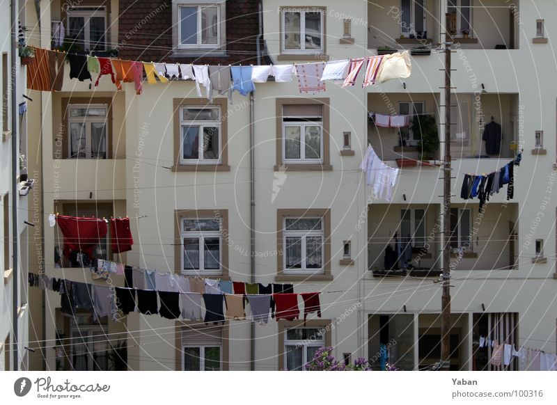 House (Residential Structure) Window Life Flat (apartment) Fresh Rope Living or residing Clothing Cleaning Balcony Story Fragrance Hang Laundry Backyard