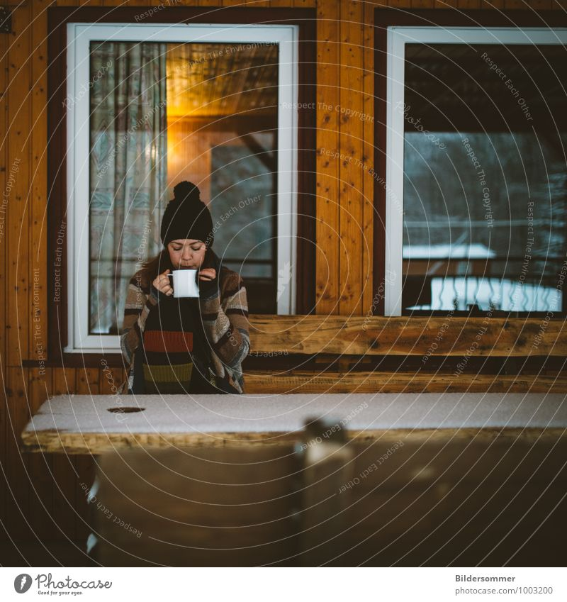 Tea in the snow II Drinking Cup Vacation & Travel Tourism Trip Freedom Winter Snow Winter vacation Living or residing House (Residential Structure) Human being