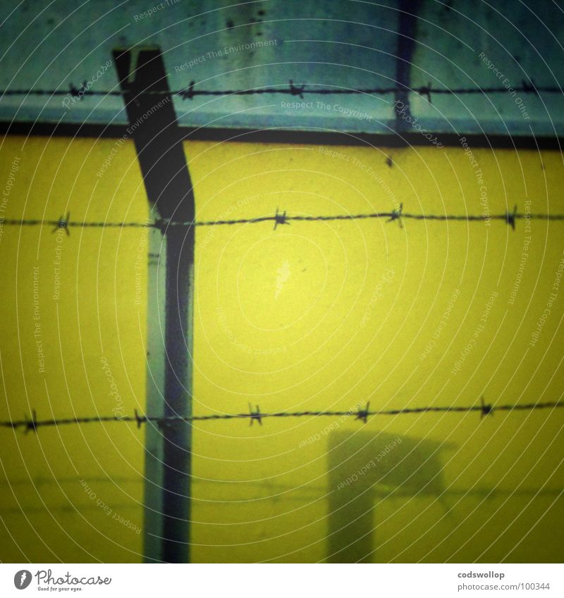frontier Yellow Detail fence blue barbed wire keep out shadow Wall (barrier)