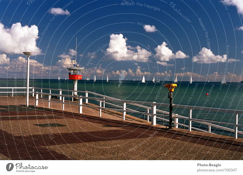 Travemünde Lake Ocean Waves Beach TRavemünde Binoculars Telescope Watch tower Lifesaving Vacation & Travel Leisure and hobbies Summer Coast Baltic Sea Water