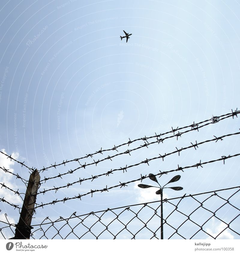 wire mesh fence in the morning Airplane Covers (Construction) Departure Vacation & Travel Safety Exclusion zone G8 Summit Heiligendamm Barrier Barbed wire Fence