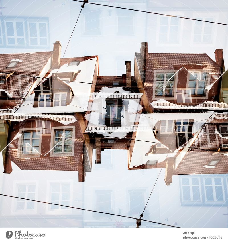 House (Residential Structure) Winter Architecture Snow Style Building Arrangement Living or residing Perspective Crazy Uniqueness Roof Manmade structures Cloudless sky Surrealism Double exposure