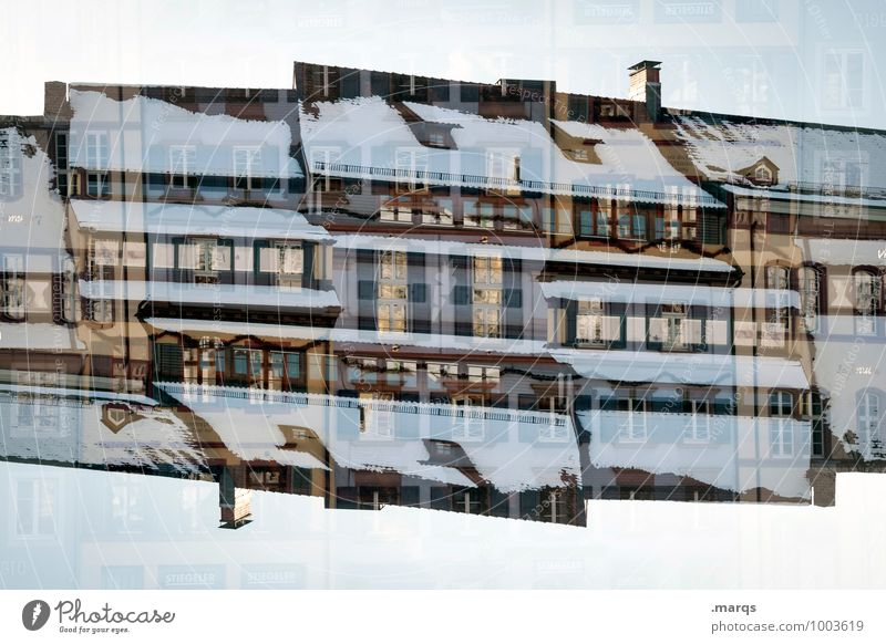 Snow covered Living or residing House (Residential Structure) Building Architecture Facade Window Roof Exceptional Moody Perspective Surrealism Symmetry